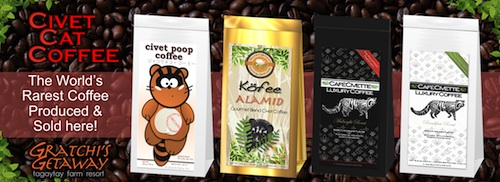 Civet Cat Coffee or Kopi Luwak sold at Gratchi's Getaway
