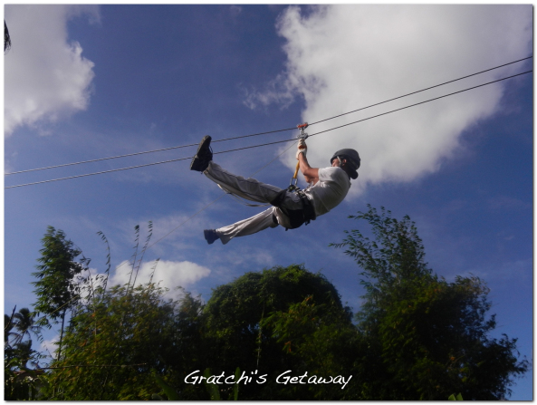 Going down the zip line at Gratchi's Getaway Tagaytay.