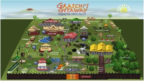 Gratchi's Getaway Map of Tagaytay Accommodations and Team Building Facilities