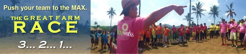 The Great Farm Race, Team Building in the mountains of Tagaytay, created by PlayWorks for Gratchi's Getaway
